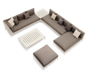 Lounge in Style: German furniture manufacturer Dedon regularly collaborates with high-profile designers on its outdoor collections. Its new MU line of modular furniture comes from French industrial designer Toan Nguyen. The versatile range of sofas, daybeds, benches, coffee tables, and more is casually chic and constructed of the company's namesake synthetic resin fiber, which resembles wicker.