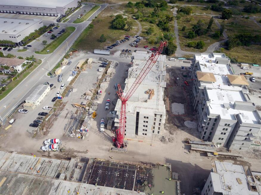 Aerial photography taken by a drone at Parc 3400, a luxury rental community under construction by Current Builders in Davie, Fla.