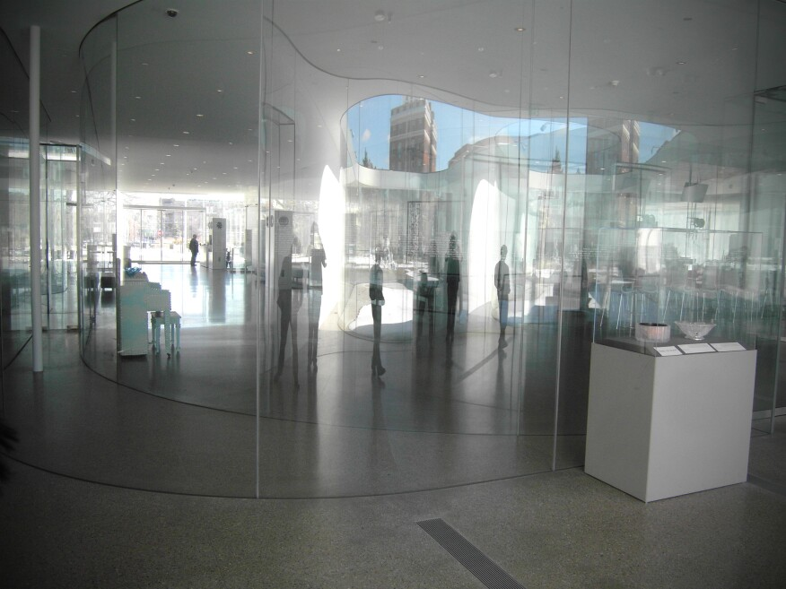 Inside SANAA's Glass Pavilion.