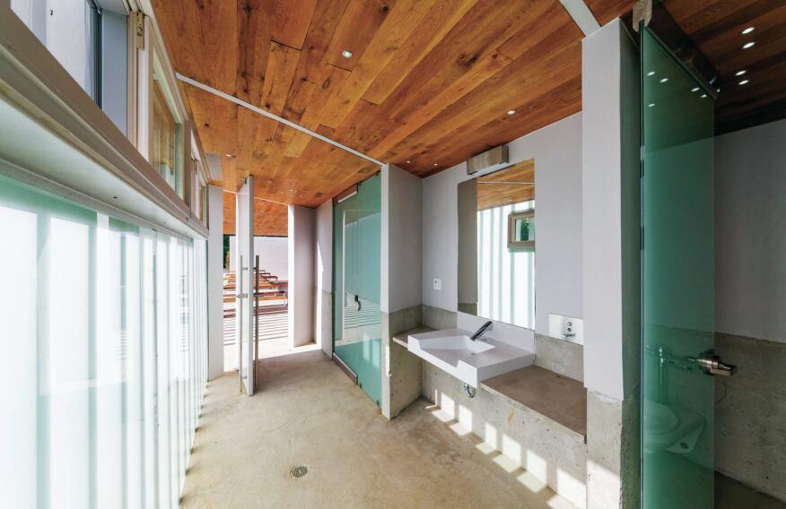 Bathroom pavilion interior