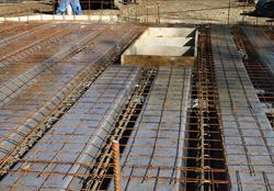 Ready to place concrete; forms and reinforcement are in place.