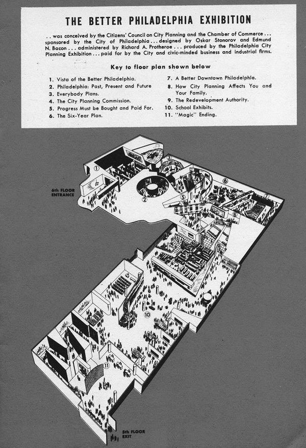 Floor plan of the 1947 Better Philadelphia Exhibition at Gimbels department store, from the show's official brochure.