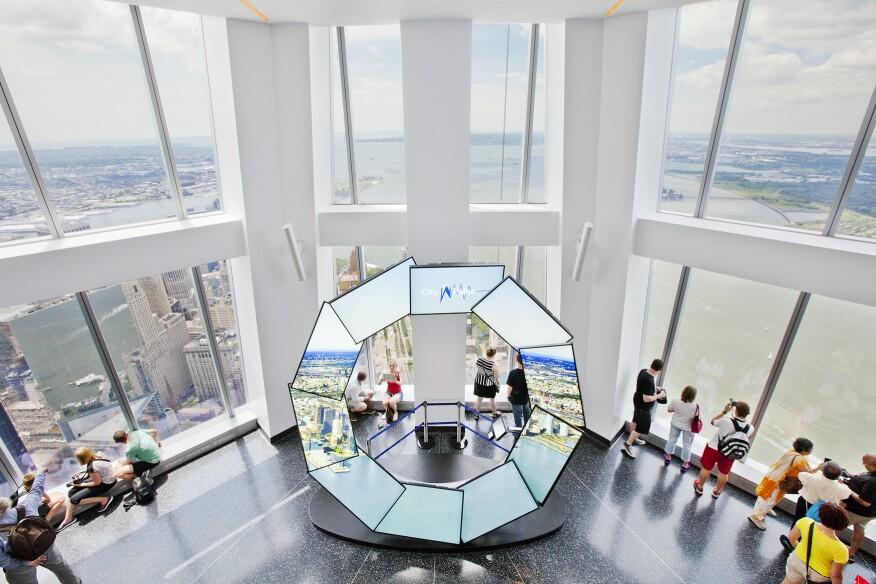 Monitors at One World display local landmarks