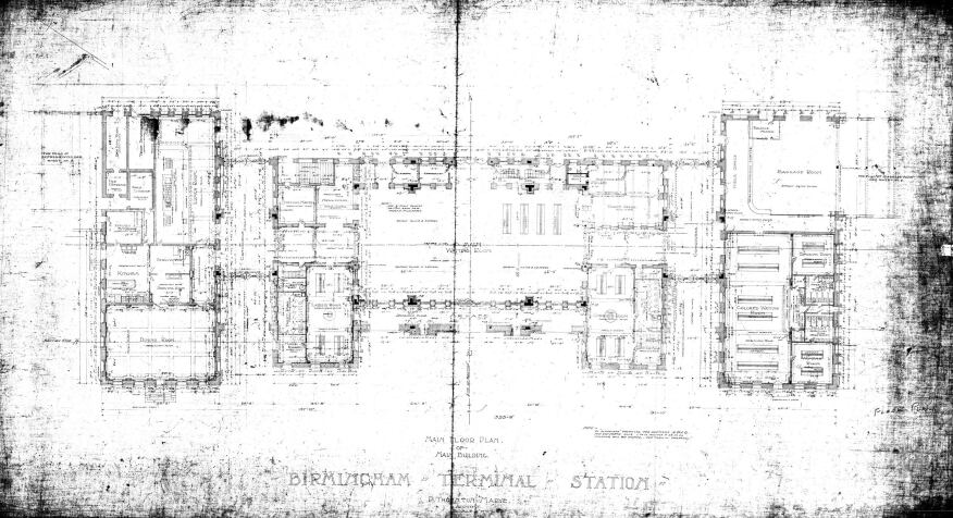 Terminal Station floorplan of main building by Thornton Marye, 1905