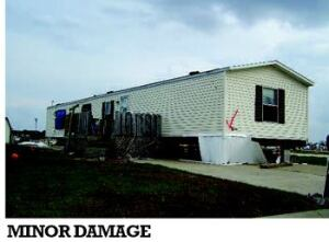 DEGREES OF DAMAGE: Here, photos show several degrees of damage to mobile homes. Tornado wind speed  is estimated from the observed damage. Although newer units may perform  better than older ones, mobile homes in general tend to suffer worse damage  than site-built houses in small tornadoes. Total destruction of a mobile  home might only indicate a tornado of strength F2 or F3, while total destruction  of a site-built house might indicate a tornado of strength F4 or F5.