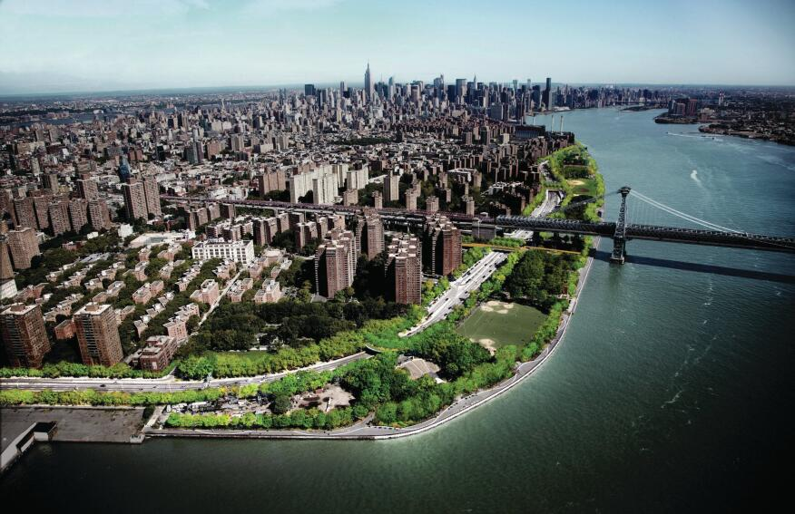 Aerial view showing added greenspace along the East River.