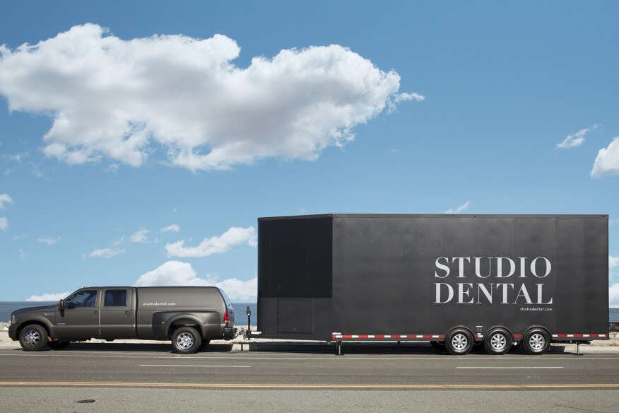 Photograph Copyright Mitch Tobias www.mitchtobias.com (415) 647-0242 Interiors and exteriors of Studio Dental, a mobile dental office in San Francisco.  Dentist with patient.