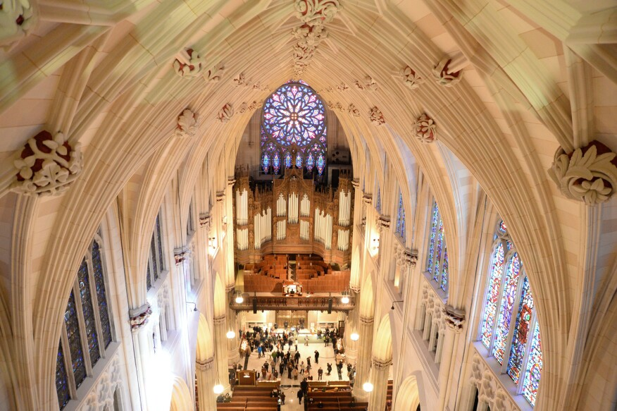 View of St. Patrick's Cathedral's rose window in the organ loft