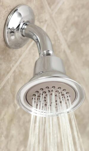 Water-saving showerhead    Moenwww.moen.com  Concentrates water flow to reduce water usage while providing a satisfying shower - Flow rate of 1.75 gallons per minute - Spray formers increase the velocity of the water streams, creating an enveloping spray - Available in chrome, LifeShine brushed nickel, and oil-rubbed bronze finishes