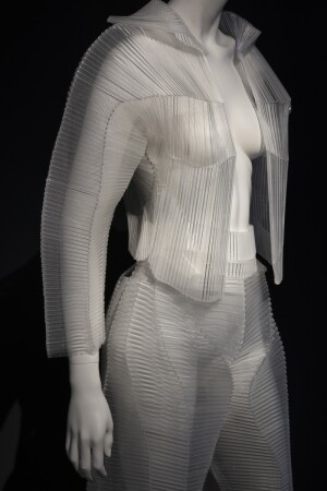 Installation view of jacket and trousers, by Krystyna Kozhoma and Zaha Hadid Design