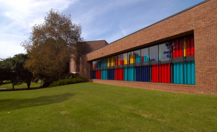 The Muscarelle Museum of Art's colorful Trombe wall functions as a solar energy collection system.