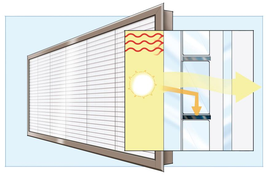"Pythagoras Solar""s photovoltaic glass units combine low-E selective glass with integral PV cells and optics for use in windows, skylights, and curtain wall systems."
