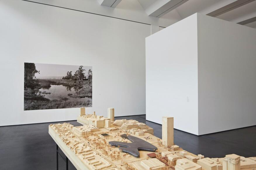 A model, staged at LACMA's Resnick Pavilion, of Peter Zumthor's plan for the museum campus.