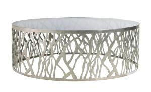 Organics Collection    D'Style  dstyleinc.com  Collection of barstools, tables (shown), and lighting - Designed for hospitality applications - Made of steel, which is 100% recyclable - Available in polished or brushed stainless steel or in any color when powder coated - Designed by Tracey Sawyer of Igloo Design