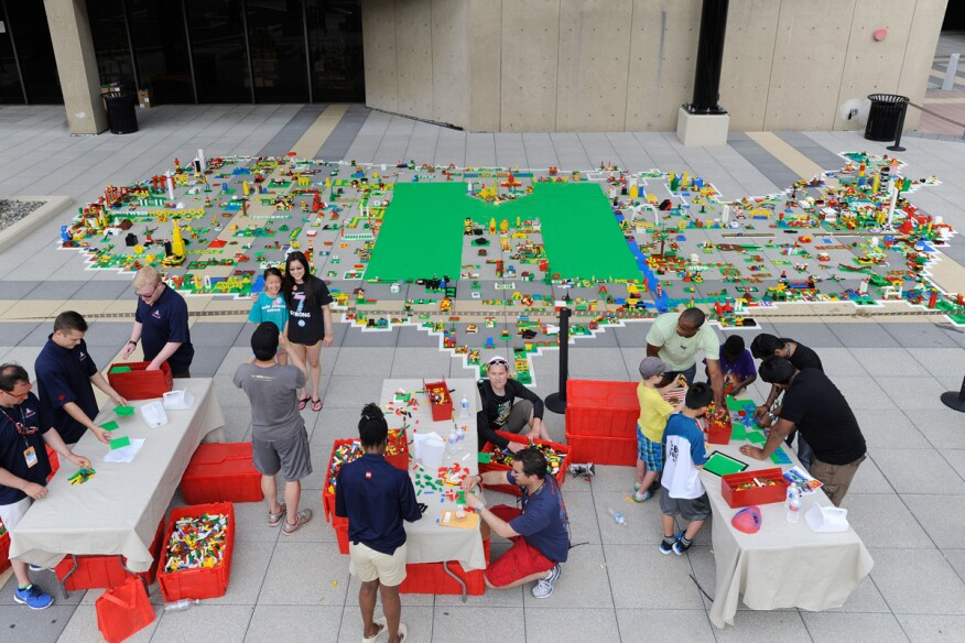 LEGO makers build a 30-by-50-foot map of the United States at the National Maker Faire at the University of the District of Columbia.