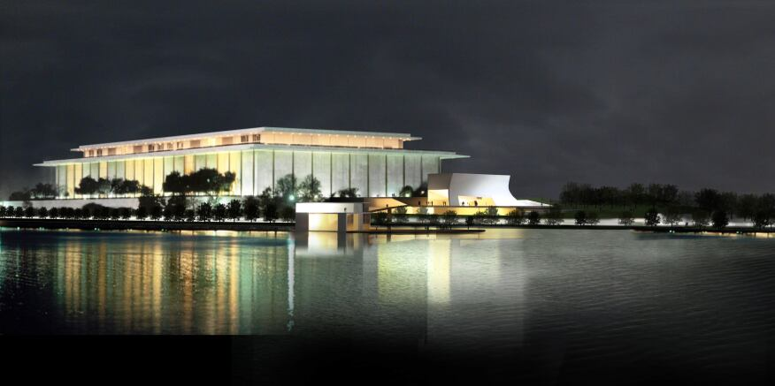 The John F. Kennedy Center for the Performing Arts expansion, to be constructed south of the existing facility, is composed of three connected pavilions that will house rehearsal space, as well as dedicated classroom space and multipurpose rooms for the Center's extensive arts education and arts management education programs.