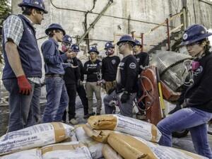 Participants of Concrete Preservation Institute field school help to preserve Alcatraz Island.