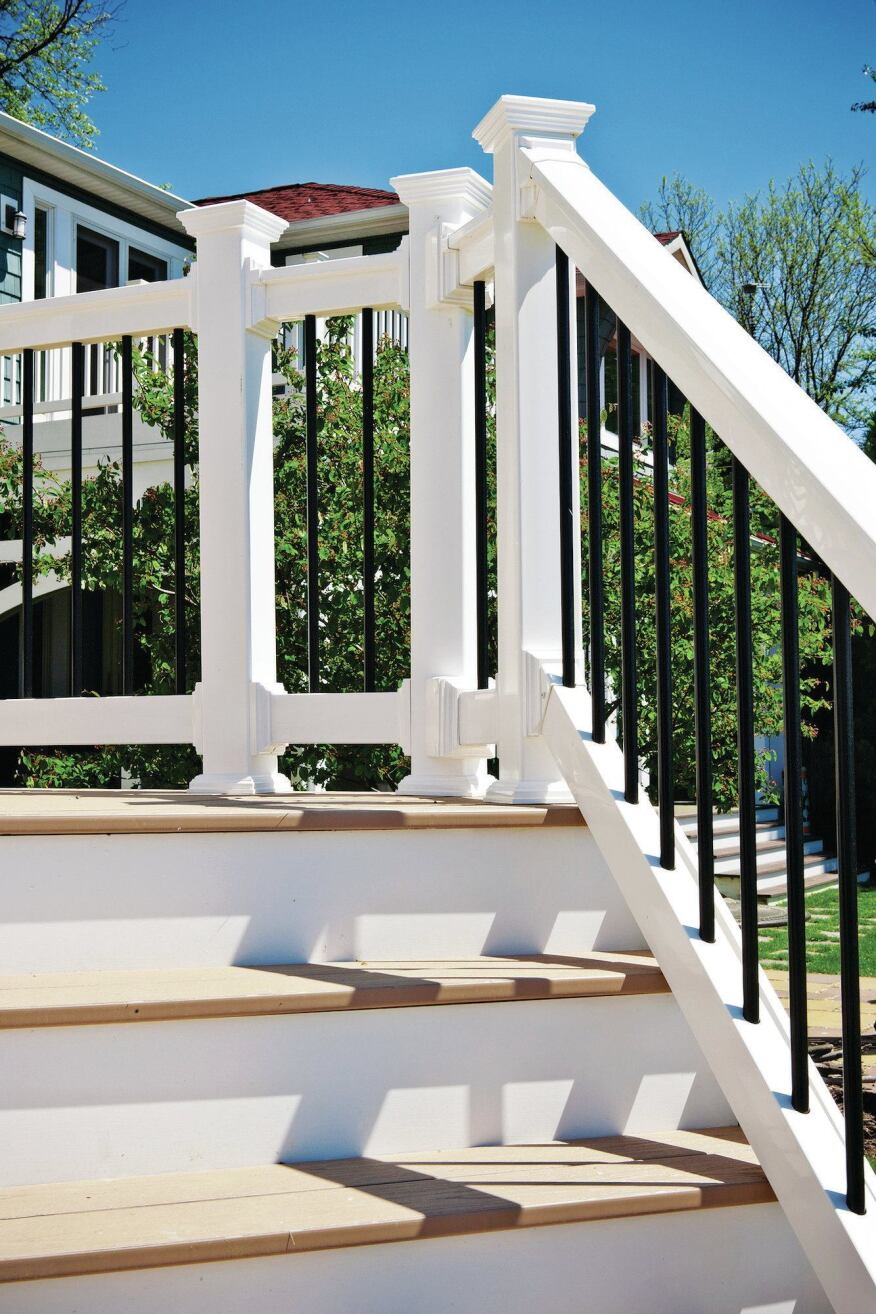 Wolf Classic series PVC rails are reinforced with aluminum and are compatible with a number of different vinyl, aluminum, and glass baluster options (wolfleader.com).
