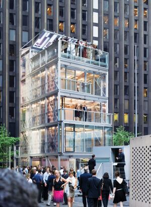 The Cellophane House utilizes a wall assembly that incorporates layers of transparent PET and thin-film photovoltaics.