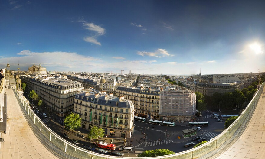 A panorama highlights the legacy of G.E. Haussmann's reconstruction of Paris.