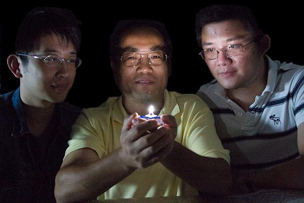 Zhengwei Pan and colleagues view the world's first single-phosphor, single-emitting-center-converted LED that emits warm white light.