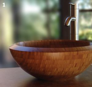 Solid bamboo vessel sink  Totally Bamboototallybamboo.com  17-inch-diameter sink - Made of solid bamboo - Maintenance-free finish - 6 inches deep - 10-year guarantee