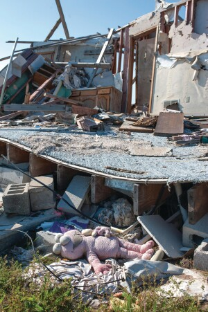 Part of a destroyed house near the old high school, acquired by the school district as part of the rebuilding plan.