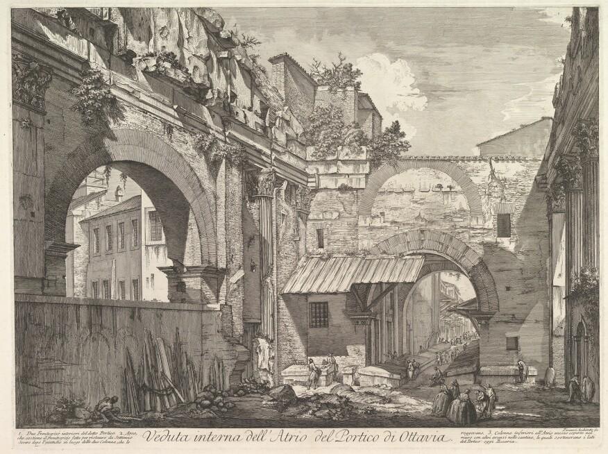 Giovanni Battista Piranesi,Veduta interna dell'Atrio del Portico di Ottavia, 1760