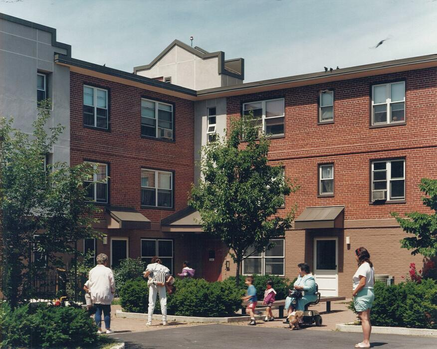 The renovations created new courtyards and green spaces for residents of West Broadway housing.