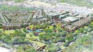An initial sketch of the development plan for the Grove at Shoal Creek, which has been hotly contested by its neighbors.