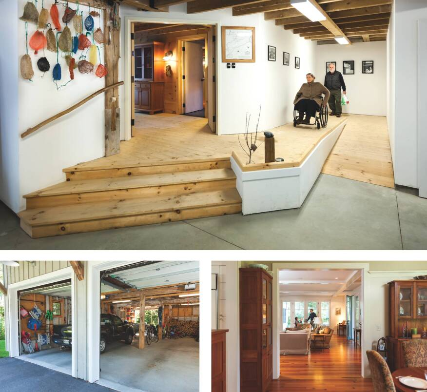 An indoor ramp makes life easier for anyone who finds stairs challenging. A covered entry protects those who need extra time to exit a car (below, left). Threshold-free openings make interiors accessible (below, right).