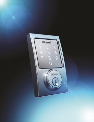 The Schlage Sense smart deadbolt allows users to control door locks while they're away from home through their smartphones when paired with a third party home automation or alarm system, and has built-in alarm sensors with alert notifications.