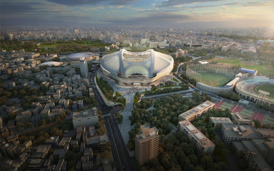 A rendering of the approved designs for the new National Stadium in Tokyo, slated for 2019.