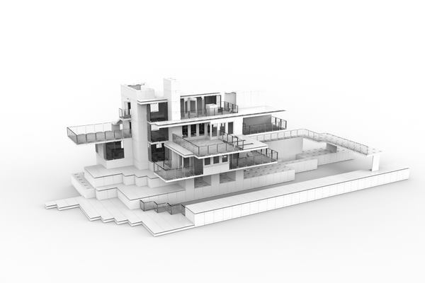 A panelized replication of Frank Lloyd Wright's Fallingwater residence.