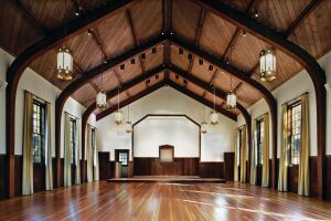 Cavallo Point rehabilitated 18 historic buildings—built as part of an early 1900s military garrison—into a new resort and conference center that meets both LEED and the Secretary of the Interior's environmental standards. Among the buildings rehabilitated are a chapel that now is used as a multipurpose space, and an historic City Council chamber.