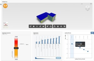 Insight 360 analyzes the energy performance of building models, even in early design stages. The graphical interface of the cloud-based tool, which is accessible from Autodesk Revit or Formit, can inform a range of design criteria, including orientation, ratio of façade glazing, and energy use.