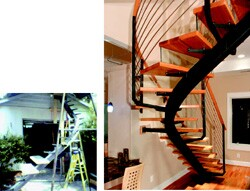 Pruitt enlisted the help of lifelong friend Mike Stanford to bring to reality his vision of a slightly spiral freestanding stair attached at the top and bottom.