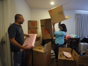 Faced with the exorbitant rising costs of Bay Area living, Priya Govindarajan and Ajay Patel pack up their apartment in San Francisco, Calif., Thursday afternoon, June 9, 2016, preparing for their move to North Carolina. (Karl Mondon/Bay Area News Group)