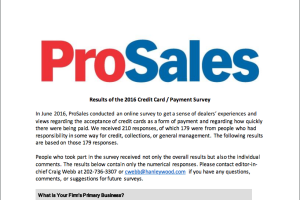 Title page to ProSales' 2016 survey on taking credit cards and generally getting paid