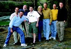 Front, leaning: Gary Wheatley; from left to right: Dale Van Lydegraf, Brad Cruickshank, Mike  Killa, Neverne Covington, Don Strobel, Rob Boram, John Sylvester.
