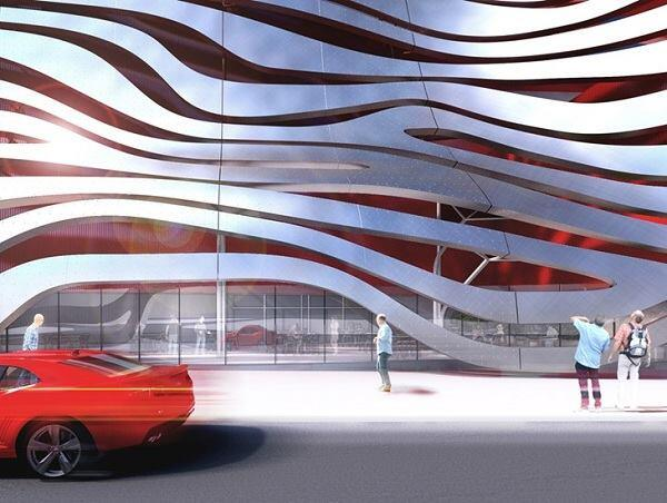 Entrance to the Petersen Automotive Museum.