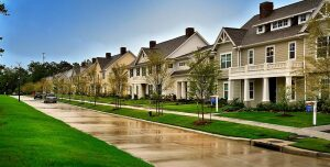 A row of townhomes on Kendrick Pines Blvd. in The Woodlands. Only 1,000 single-family lots remain in the community.