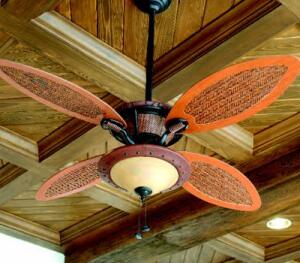 COOL DOWN: To help beat the Florida heat, the InSync Home has a variety of ceiling fans  from Hunter Fan Co., including the Fellini, Coronado, and Royal Palm. Measuring 60 inches, the  Fellini has five hand-carved walnut blades. The Coronado  features wood blades that call to mind lush palms. And with an island influence, the  Royal Palm (shown) has four cherry and rattan blades and a faux-plantation  leather finish.