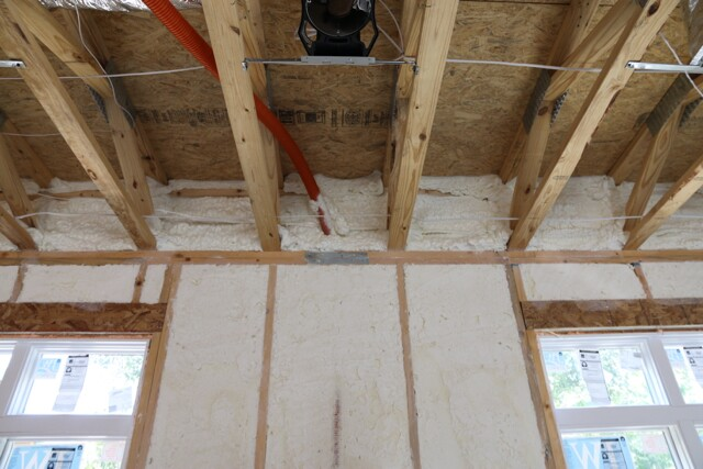 Band areas are where spray foam really shines! This 20″ deep 2×4 floor truss band would be very hard to insulate properly with any other type of insulation.