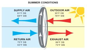 The graphics above illustrate the impact an ERV has on the temperature of a building's airflow in winter and summer conditions. The DB (dry bulb) measurement indicates the pure air temperature. The WB (wet bulb) measurement indicates the temperature in relation to the humidity level.
