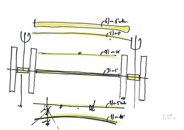 Douglas fir beam detail sketch by Renzo Piano.