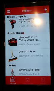 This is how the inventory function appears on the screen of a smartphone. Selecting the item opens a screen with detailed info on that particular tool, things like serial number, purchase price, purchase date, and the like.
