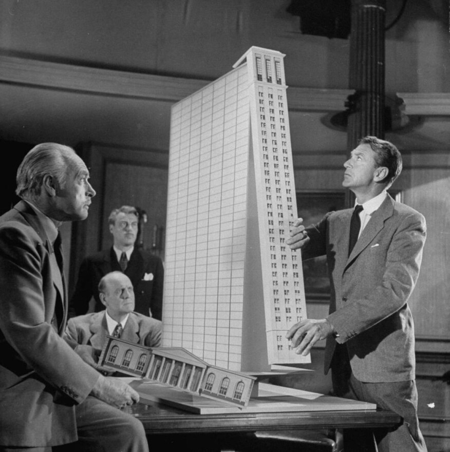 "A scene from ""The Fountainhead"" (1949), featuring Gary Cooper as Howard Roark"