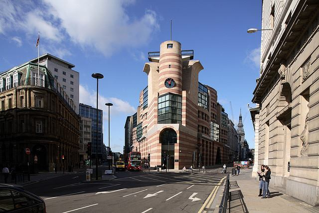 The postmodern No 1 Poultry, erected in the City of London. The site was originally supposed to have a building by Mies Van Der Rohe, but Prince Charles interferred with that project.