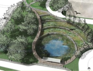The design submitted by the winning team from the University of Florida addresses a 67.6 acre subwatershed in the northeast corner of campus.